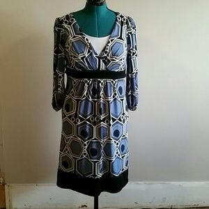 Good condition blue, white, black wrap dress